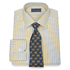 1920s Style Mens Shirts 2-Ply Cotton Alternating Stripe Spread Collar Dress Shirt $80.00 AT vintagedancer.com