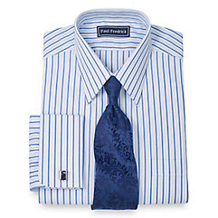 1940s Style Mens Shirts 100 Cotton Textured Stripe Straight Collar French Cuff Dress Shirt $30.00 AT vintagedancer.com