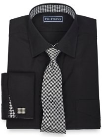 2-Ply Cotton Solid with Silk Trim Spread Collar French Cuff Dress Shirt