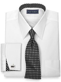 2-Ply Cotton Pinpoint Solid with Silk Trim Straight Collar Dress Shirt