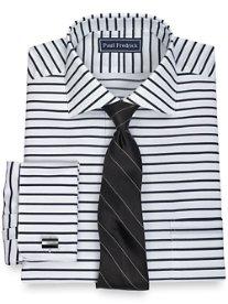 2-Ply Cotton Horizontal Stripe Spread Collar French Cuff Dress Shirt