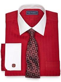 2-Ply Cotton Herringbone Spread Collar French Cuff Dress Shirt