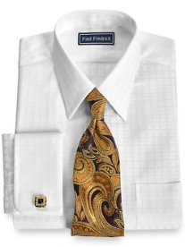 2-Ply Cotton Satin Windowpane Straight Collar French Cuff Dress Shirt