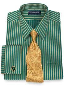 100% Cotton Satin Stripe Straight Collar French Cuff Dress Shirt