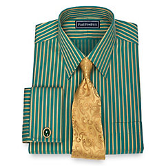 1920s Style Mens Shirts 100 Cotton Satin Stripe Straight Collar French Cuff Dress Shirt $80.00 AT vintagedancer.com