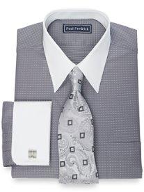 2-Ply Cotton Mini Dot Pattern Straight Collar French Cuff Dress Shirt