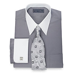 1930s Style Mens Shirts 2-Ply Cotton Mini Dot Pattern Straight Collar French Cuff Dress Shirt $50.00 AT vintagedancer.com