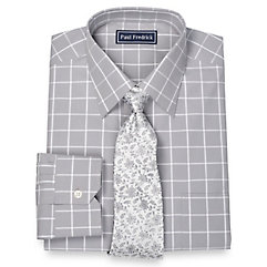 1950s Style Mens Shirts 100 Cotton Windowpane Spread Collar Dress Shirt $50.00 AT vintagedancer.com