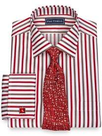 2-Ply Cotton Alternating Satin Stripe Spread Collar French Cuff Dress Shirt