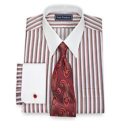 1920s Style Mens Shirts 2-Ply Cotton Framed Stripe Straight Collar French Cuff Dress Shirt $80.00 AT vintagedancer.com