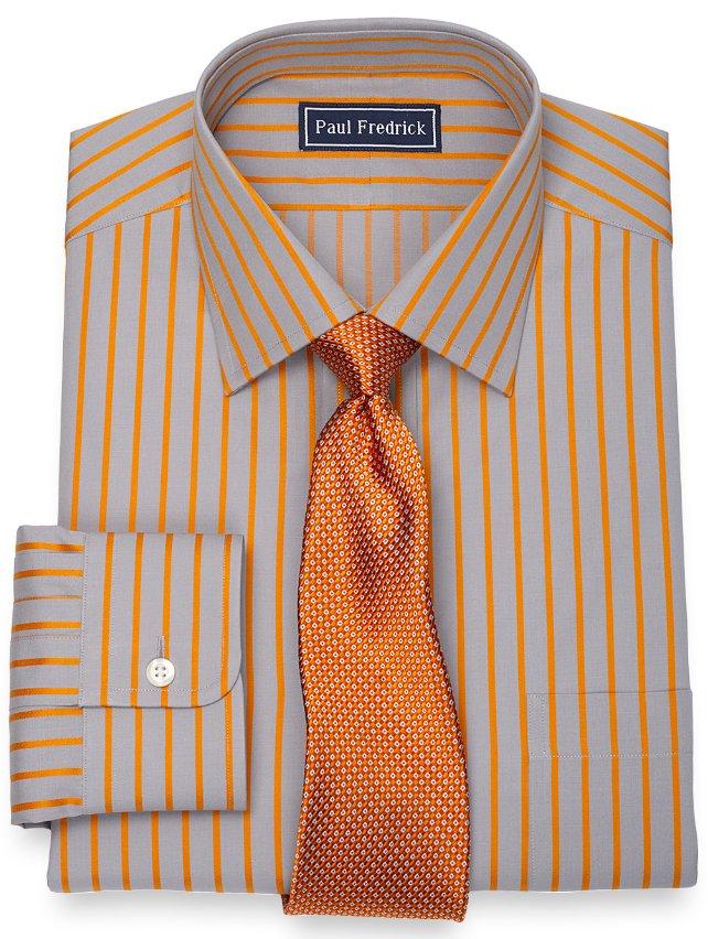 2 ply cotton satin stripe spread collar dress shirt paul for 2 ply cotton dress shirt