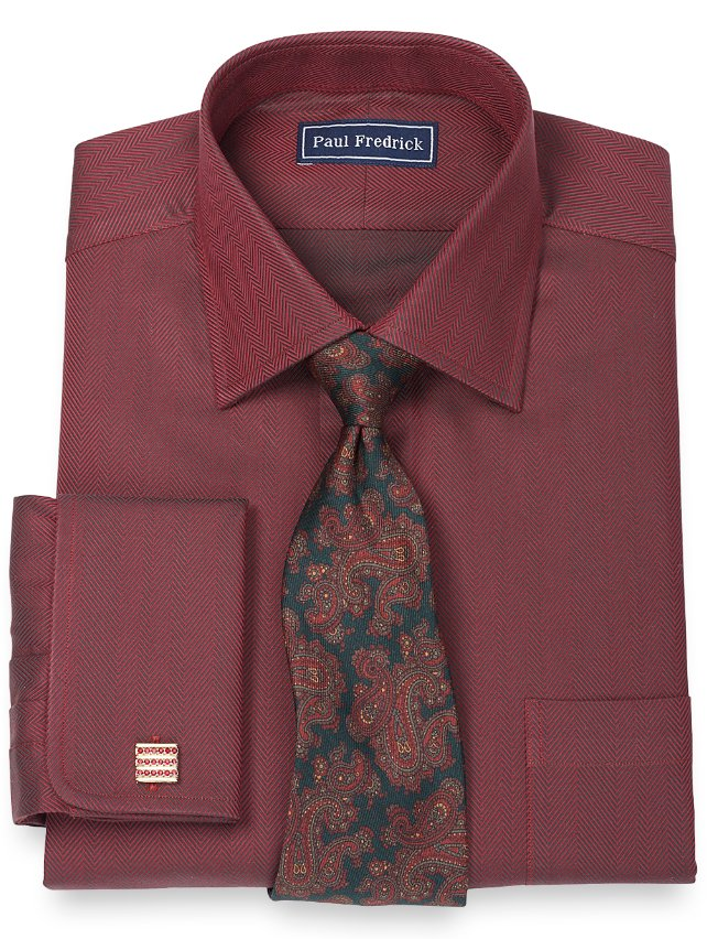 Slim fit 2 ply cotton herringbone spread collar french for 2 ply cotton dress shirt