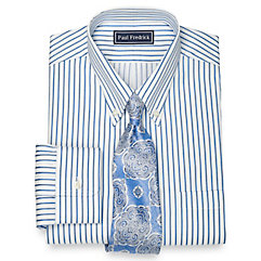 1930s Style Mens Shirts 2-Ply Cotton Pinpoint Rope Stripe Button Down Collar Dress Shirt $30.00 AT vintagedancer.com