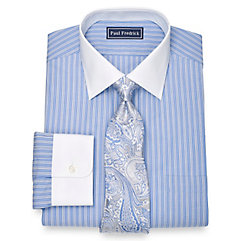 1920s Style Mens Shirts 100 Cotton Shadow Stripe Spread Collar Dress Shirt $80.00 AT vintagedancer.com