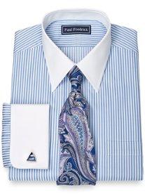 100% Cotton Bengal Stripe Straight Collar French Cuff Dress Shirt
