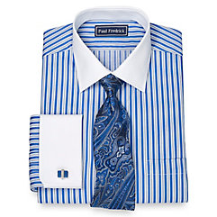 1920s Style Mens Shirts 100 Cotton Alternating Stripe Spread Collar French Cuff Dress Shirt $80.00 AT vintagedancer.com