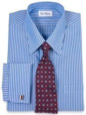 Non-Iron 2-ply Cotton Striped Straight Collar French Cuff Trim Fit Dress Shirt