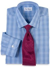 Non-Iron 2-ply Cotton Plaid Windsor Collar Trim Fit Dress Shirt