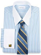 Non-Iron Cotton Pinpoint Straight Collar French Cuffs Dress Shirt