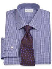 Non-Iron 2-Ply 100% Cotton Broadcloth Mini Check Spread Collar Dress Shirt
