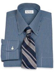 Non-Iron 2-Ply 100% Cotton Broadcloth Tonal Grid Straight Collar Dress Shirt