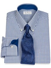 Non-Iron 2-Ply 100% Cotton Broadcloth Check Button Down Collar Dress Shirt