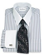 Non-Iron 2-Ply 100% Cotton Pinpoint Straight Collar French Cuff Dress Shirt