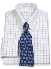 Non-Iron 2-Ply 100% Cotton Pinpoint Windowpane Button Down Collar Dress Shirt