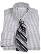 Non-Iron 2-Ply 100% Cotton Grid Button Down Collar Dress Shirt