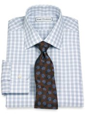 Non-Iron 2-Ply 100% Cotton Windowpane Spread Collar Dress Shirt