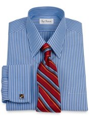 Non-Iron 2-Ply 100% Cotton Broadcloth Collar French Cuff Trim Fit Dress Shirt