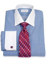 Non-Iron 2-Ply 100% Cotton Stripe Spread Collar French Cuff Trim Fit Dress Shirt