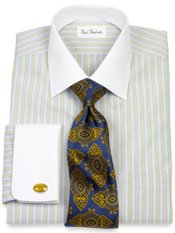 Non-Iron 2-Ply 100% Cotton Broadcloth Spread Collar French Cuff Dress Shirt