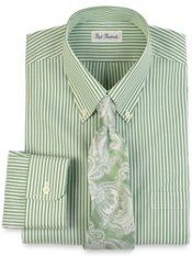 Non-Iron 100% Cotton Pinpoint Bengal Stripe Button Down Collar Dress Shirt