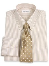 Non-Iron 100% Pinpoint Bengal Stripe Button Down Collar Trim Fit Dress Shirt