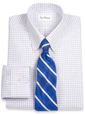 Non-Iron 2-ply Cotton Grid Button Down Collar Trim Fit Dress Shirt