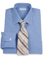 Non-Iron 2-ply Cotton Gingham Windsor Collar Trim Fit Dress Shirt