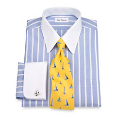 Non-Iron 2-ply Cotton Stripe Straight Collar French Cuff Dress Shirt