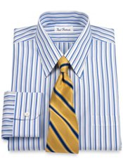Non-Iron 2-ply Cotton Shadow Stripe Trim Fit Dress Shirt