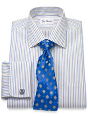 Non-Iron Cotton Stripe Windsor Collar French Cuff Trim Fit Dress Shirt