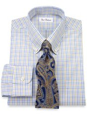 Non-Iron 2-ply Cotton Check Button Down Collar Trim Fit Dress Shirt