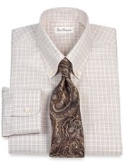 Non-Iron 2-Ply 100% Cotton Pinpoint Tattersall Button Down Collar Dress Shirt