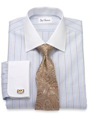Non-Iron 2-Ply Cotton Stripes Spread Collar French Cuff Trim Fit Dress Shirt