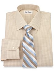 Non-Iron 2-Ply Cotton Gingham Windsor Spread Collar Trim Fit Dress Shirt
