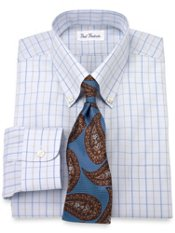 Non-Iron 2-Ply Cotton Windowpane Button Down Trim Fit Dress Shirt