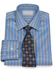 Non-Iron 2-Ply 100% Cotton Satin Twill Stripe Spread Collar Dress Shirt