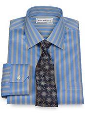 Non-Iron 2-Ply 100% Cotton Satin Twill Stripe Spread Collar Trim Fit Dress Shirt