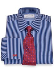 Non-Iron 2-Ply 100% Cotton Stripe Spread Collar French Cuff Trim Fit Dress Shirt