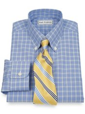 Non-Iron 2 Ply 100% Cotton Broadcloth Windowpane Button Down Dress Shirt