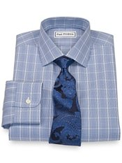 Non-Iron 2-Ply 100% Cotton Glen Plaid Jermyn Street Collar Dress Shirt